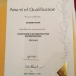 Waterproofing cert